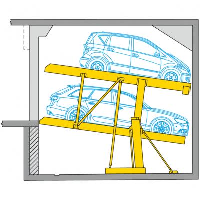 Parklift 402 - impianto di parcheggio per box con altezza ridotta