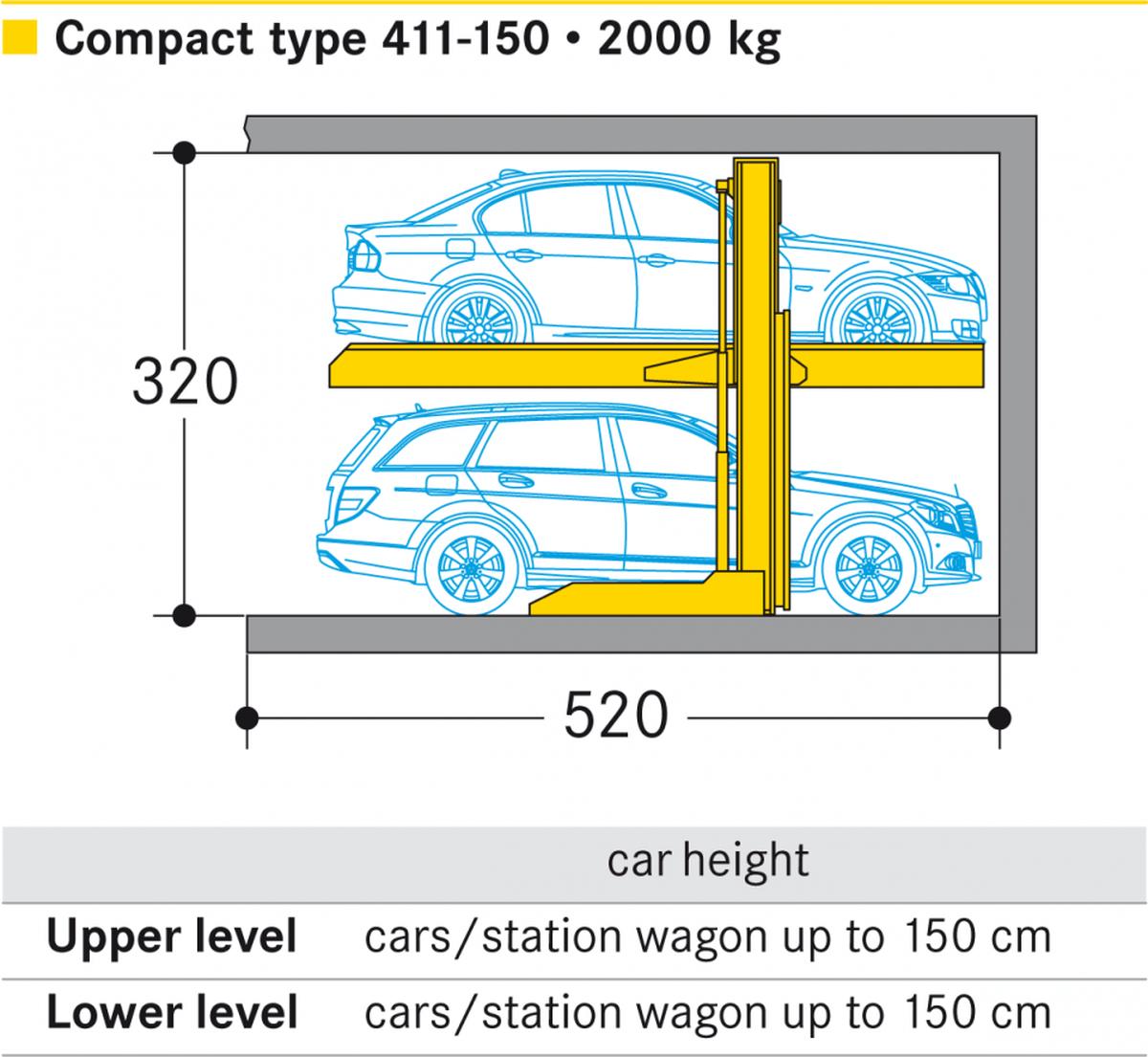 Ascensore per auto senza conducente a bordo Parklift 411