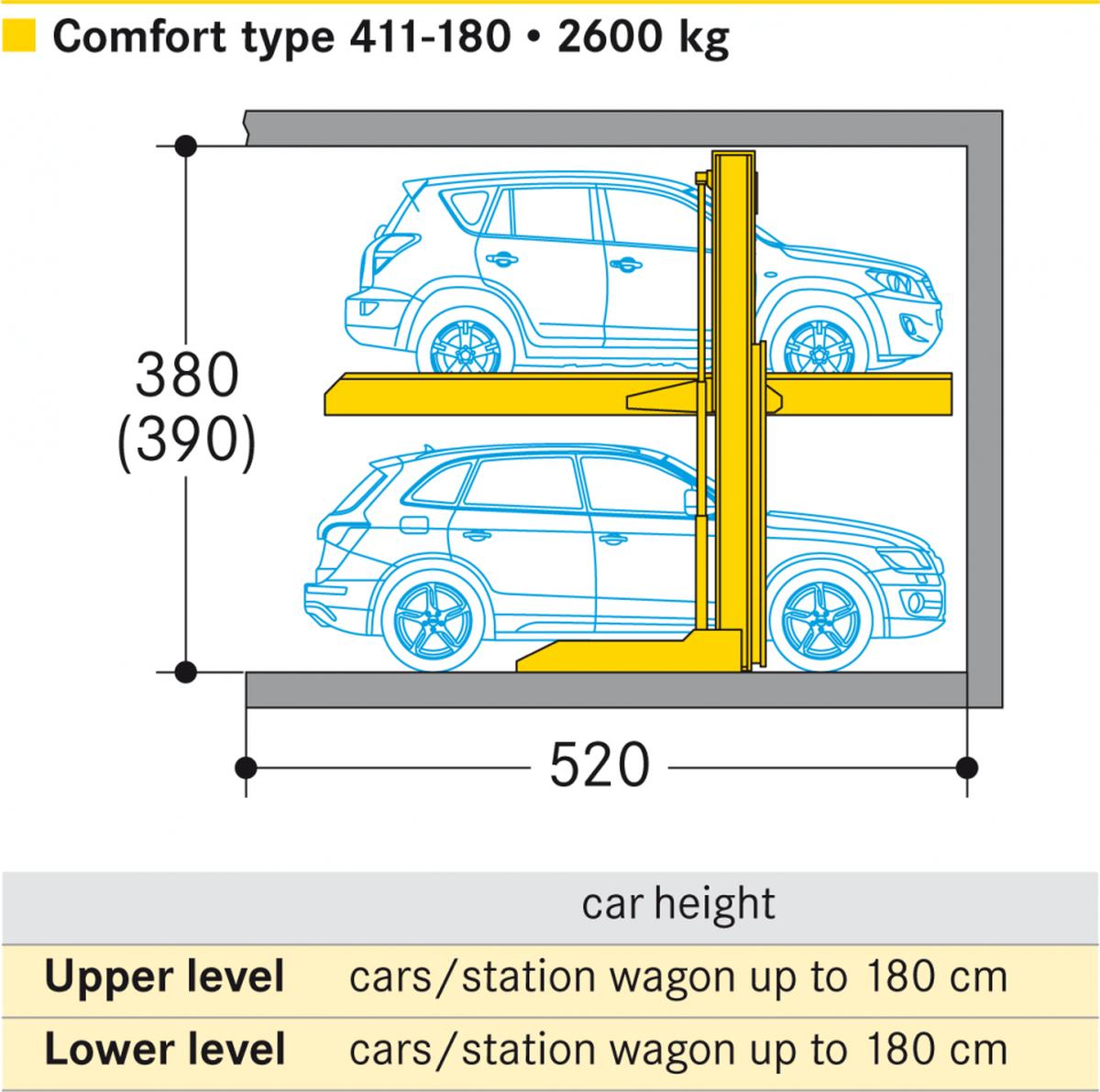 Ascensore per auto senza conducente a bordo Parklift 41