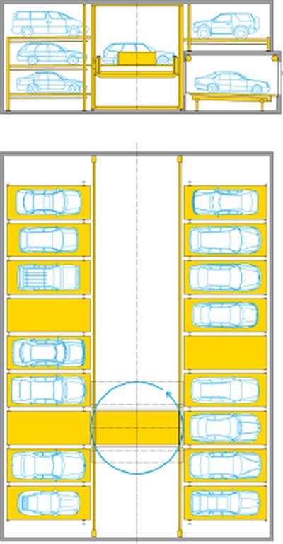 Multiparker 730 - impianto di parcheggio auto automatizzato a scaffalature