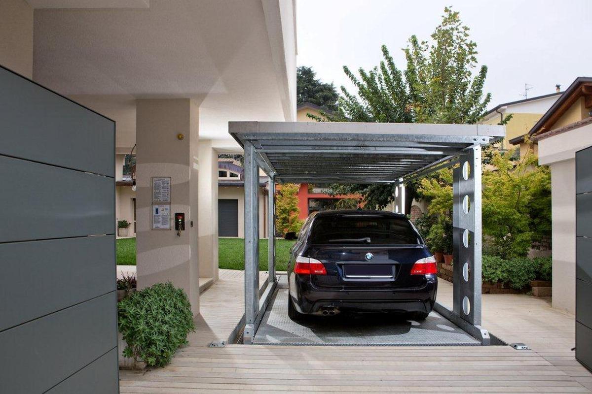 Ip1 cm ff42 ascensore per auto con tetto di copertura for Costo del garage di due auto
